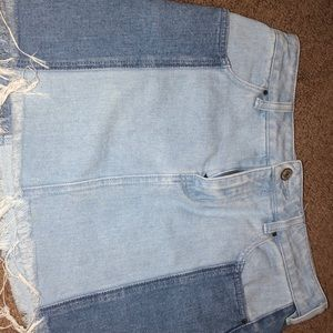 Jean skirt; two different denim